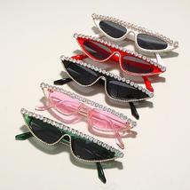 Cat Eye Sunglasses Women  Luxury Diamond Sunglasses Men Small Glasses Ladies Vin image 6