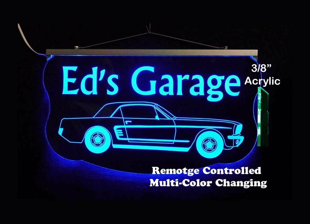 Personalized For Mustang Sign, Gift for Dad, LED Mancave Sign