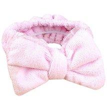 Hair Band Makeup Hair Wash A Face With Hair Hoop Bowknot Headdress(Pink)