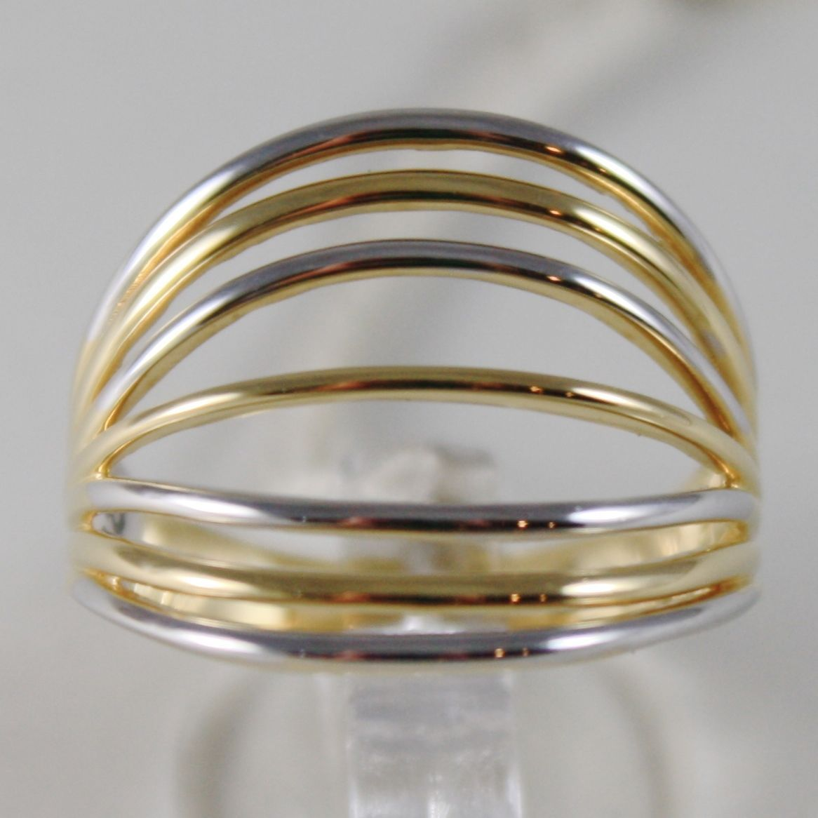 SOLID 18K WHITE & YELLOW GOLD BAND RING MULTIWIRE ALTERNATE MADE IN ITALY