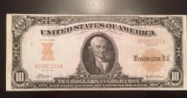 Reproduction $10 Bill 1907 Gold Certificate Michael Hillegas 1st Treasurer USA - $2.96
