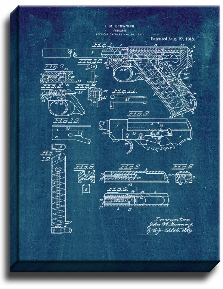Primary image for Colt Woodsman Firearm Patent Print Midnight Blue on Canvas