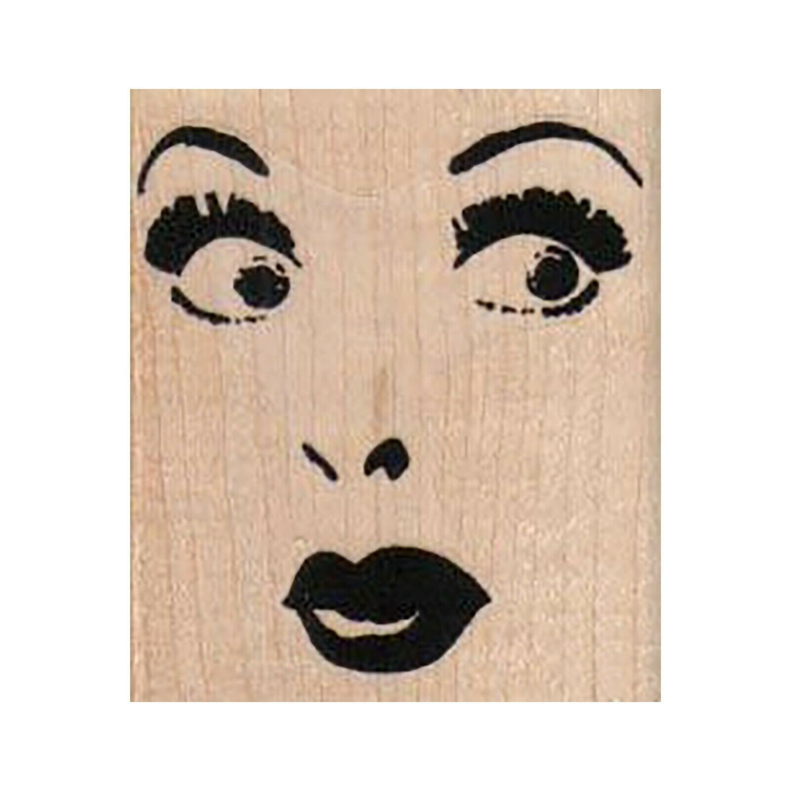 Primary image for Mounted Rubber Stamp, Eyes Nose and Mouth, Face, Woman's Face, Makeup Face, Lady