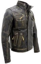 Cafe Racer Antique Retro Biker Multi Pockets Distressed Brown Leather Jacket image 2