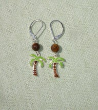 Summer Palm Tree and Tiger Eye Gemstone Dangle Earrings  - Handcrafted J... - $14.99