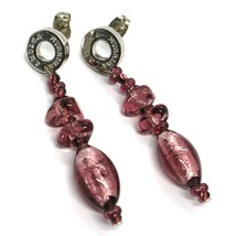 Earrings Antica Murrina Venezia, Hanging, Ovals Purple, Murano, 5 CM image 1