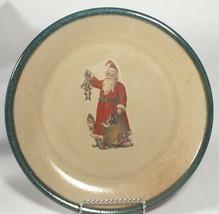 monroe salt works pottery Christmas dinner plate stoneware Santa plate 1 - $64.35