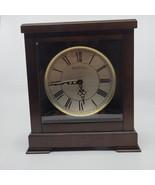 BULOVA CHIMING MANTEL CLOCK, BROWN CHERRY, BEVELED FRONT GLASS   - $65.00