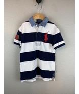Polo Ralph Lauren Boys Polo Shirt 5 White Blue Stripe - $98.99