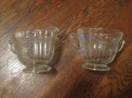 Pressed glass Depression Creamer and Sugar server cups Pair - $19.79