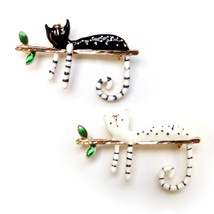 2pcs Brooch Black White Cute Cat Gold Tree Branch Green Leaves Comic Lovely Pin - $10.99