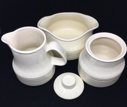 Stoneware Speckled Pottery Ringed Creamer and Sugar Bowl w/ Lid + Gravy ... - $18.70