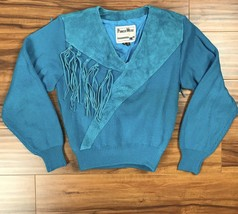 Vintage 80s Western Suede Fringe Sweater Women M Knit Turquoise  - $103.05