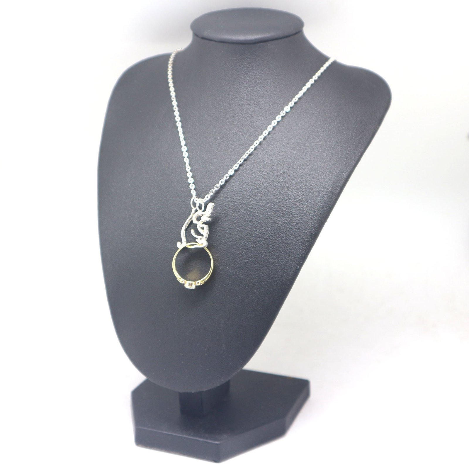 Silver Elephant Ring Holder Necklace Pendant image 5