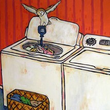 Owl doing laundry Bird animal art tile coaster gift - $14.99