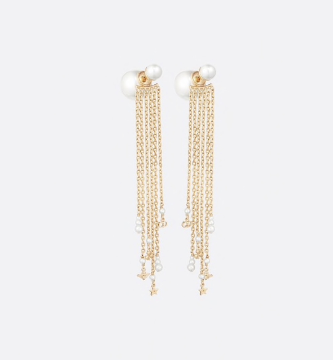 NEW AUTH Christian Dior 2020 DOUBLE PEARL EARRINGS GOLD DANGLE MULTI STRAND