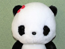 "ANIME PANDA Plush Japanese Stuffed Animal DOll Toy Black White RED BOW 9"" Baby  image 2"