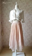 "Blush Long Tulle Skirt Blush Wedding Bridesmaid Skirt High Waisted 27.5"" long image 3"