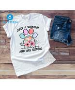 Just A Women Who Loves Dog And Has Tattoos Gildan T-shirt, Funny Shirt F... - $21.99+