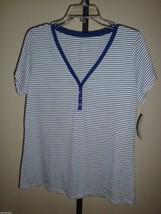 New Charter Club Women's COTTON/MODAL Ss Pajama Lounge Top NAVY/WHITE Stripe S - $10.88