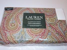 Ralph Lauren Bohemian Paisley 3P Queen Duvet Cover Shams Gold Red blue - $145.45