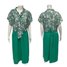 Vintage Femmes Robe Fourreau Vert Manche Courte Taille 22 1/2 - $31.10