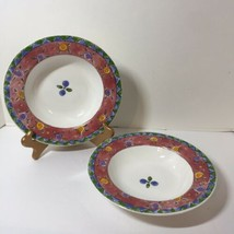"2 Rimmed Salad Soup Bowls Cranberry Twirl The Sweet Shoppe Sango 9"" - $9.74"
