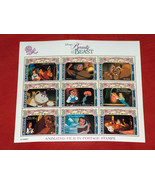 Disney's Beauty And The Beast Animated Film In Postage Stamps St Vincent... - $9.29