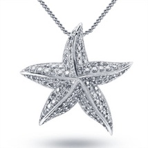 Star Fish Pendant With Chain Round Cut CZ 925 Sterling Silver 14k White Gold FN - $48.99
