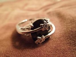 Sterling Silver Onyx & Diamond Shooting Star / Star-Crossed Lovers Ring,... - $133.65