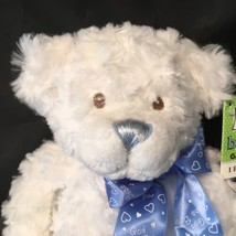 "God Bless Baby Bear White Plush with Rattle 11"" Religous Baby Ganz - $18.79"