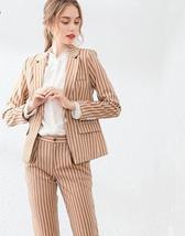 Womens Popular Brand Designer Pinstripe Slim Fit 2 Piece Pants Suit image 3