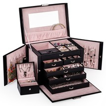 Black Leather Jewelry Box Travel Case and Lock - €57,03 EUR