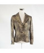 Metallic gold gray cheetah cotton blend FRASCARA long sleeve blazer jack... - $74.99