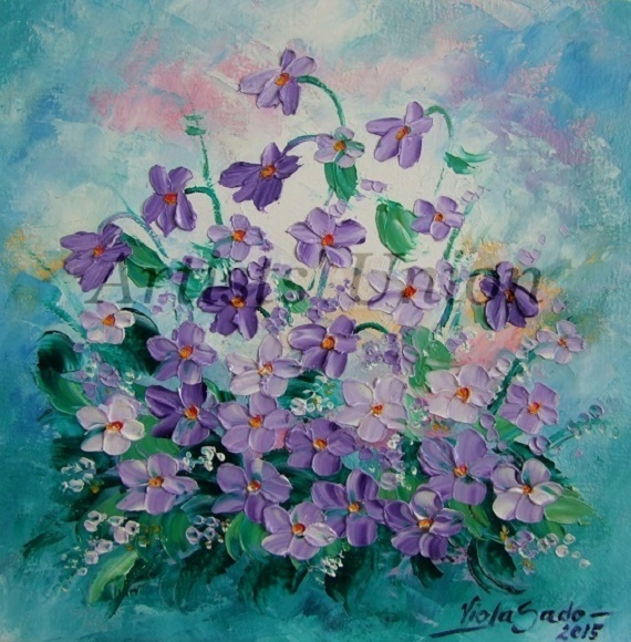Primary image for Violets Original Oil Painting Impasto Purple Wild Flowers Palette Knife Fine Art
