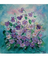 Violets Original Oil Painting Impasto Purple Wild Flowers Palette Knife Fine Art - $75.00