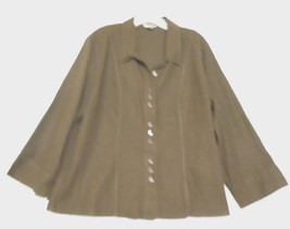 Christopher & Banks Brown Size XL Linen Rayon Long Sleeve  Career Over  ... - $18.49