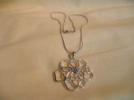 Silver Flower Pendant Necklace - $14.00