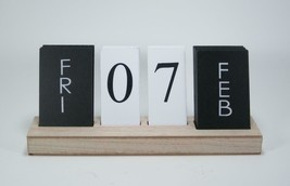 "Tabletop Wood Tile Perpetual Calendar Contemporay Style Tabletop 12"" x 2.5"" - $26.68"
