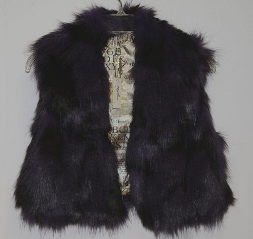 Riflessi Collection Premium Edition WFV11 Medium Purple Black Faux Fur Vest