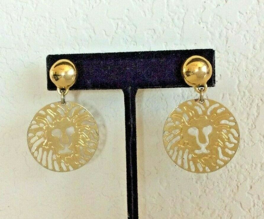 Vintage Anne Klein Gold Tone Lion Cut Out Medallion Dangle Pierced Earrings - $24.74