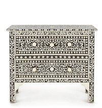 Anthropologie Horchow French Moroccan Bone Inlay Chest Drawers Nightstan... - $2,074.05
