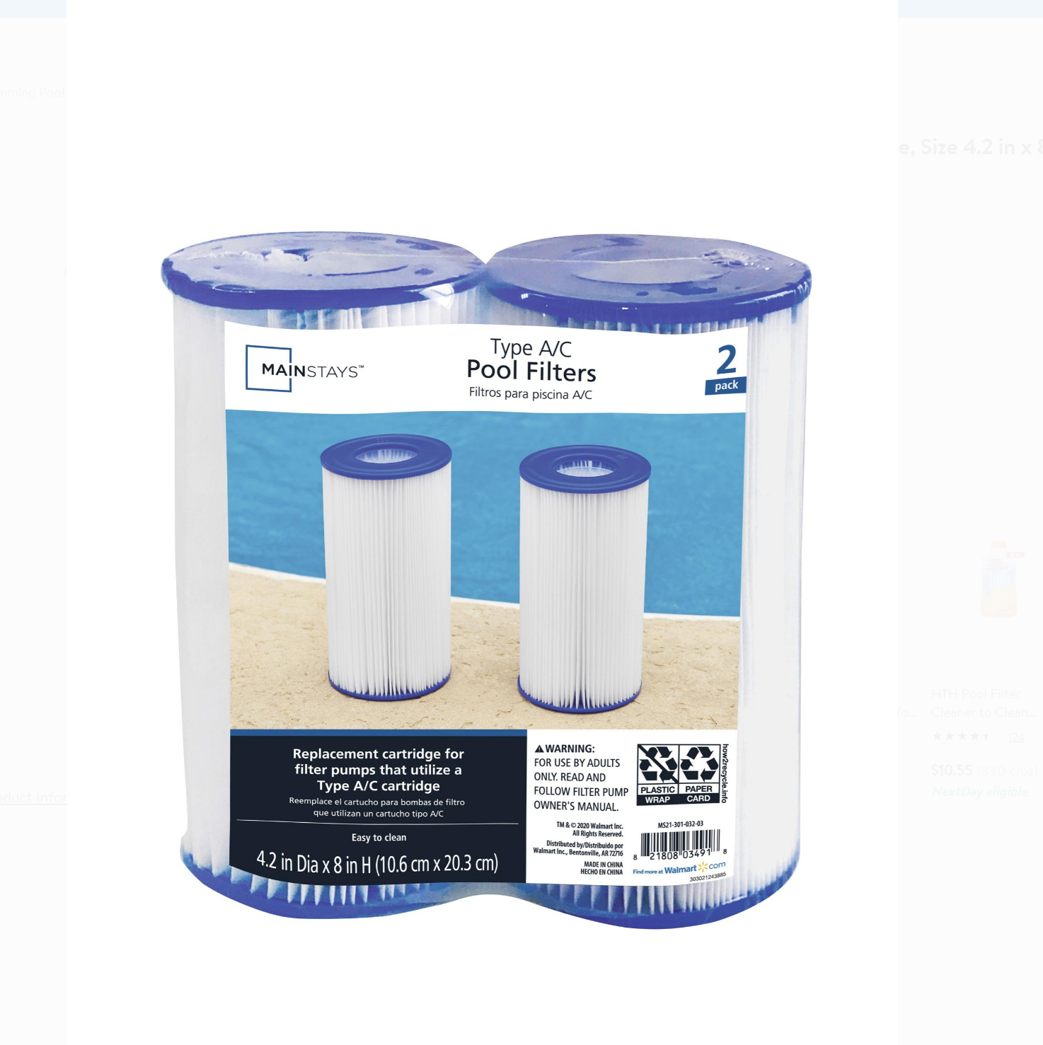 "Mainstays Size 4.2"" x 8"" Type III A/C Pool Filter Cartridge - 2 ct"