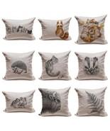 Linen Pillow Cushion Pillowcase Home Decor Cute Animals Kitten Cat Hedge... - $35.00