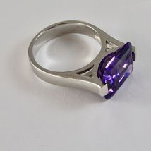 Silver Ring 925 Rhodium with Crystal Purple of Shape Rectangular image 4