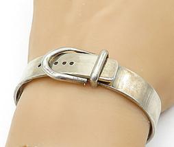 MEXICO 925 Silver - Vintage Shiny Smooth Belt Buckle Bangle Bracelet - B... - $145.40