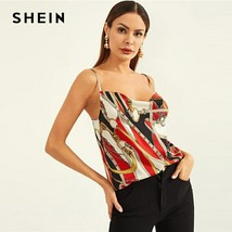 SHEIN Mixed Print Halterneck Top Slim Fit Sexy Party Vests Halter Women ... - $13.58