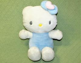 "11"" Hello Kitty Sanrio Stuffed Animal Plush Blue White Doll Soft Pink Heart Bow - $16.83"