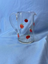 Vintage Hand Painted Franciscan Apple Clear Glass Water And Juice Pitcher Jug - $20.99