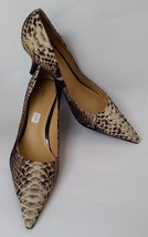 Nine West Shoes Pumps Faux Fabric Snake Print Black Shiny Heels Brown Be... - $42.28